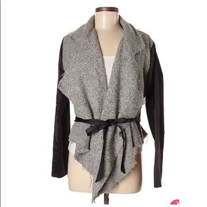 Vera Wang- Edgy Grey and Black Wrap Cardigan M
